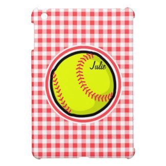 Softball Red and White Gingham iPad Mini Covers