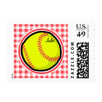 Softball; Red and White Gingham Postage