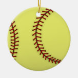 Softball-Red Double-Sided Ceramic Round Christmas Ornament