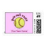 Softball-Red Postage Stamp