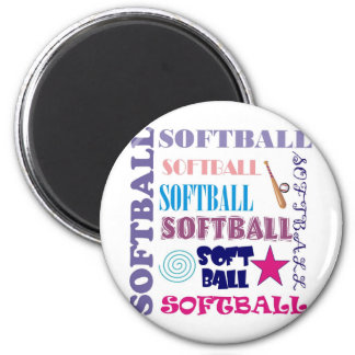 Softball Repeating 2 Inch Round Magnet