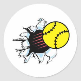 Softball Rip It Classic Round Sticker