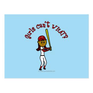 Softball rojo oscuro tarjetas postales