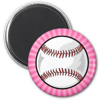 Softball rosado imán redondo 5 cm