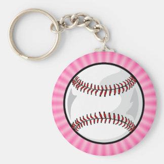 Softball rosado llavero redondo tipo pin