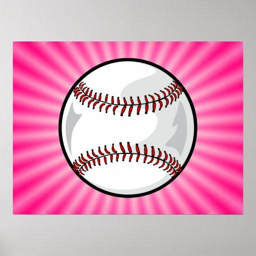Softball rosado impresiones