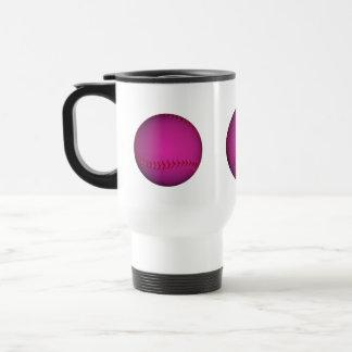 Softball rosado taza de viaje de acero inoxidable
