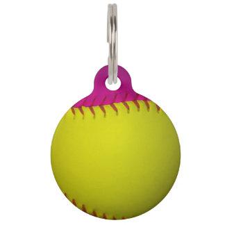 Softball rosado y amarillo placas para mascotas