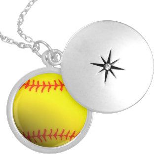 Softball Round Locket Necklace