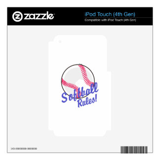 Softball Rules! iPod Touch 4G Decal