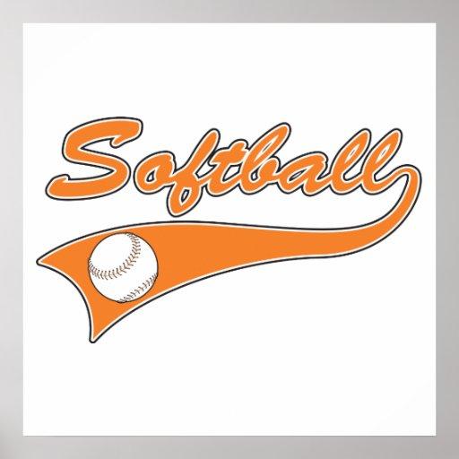 softball script text logo orange poster