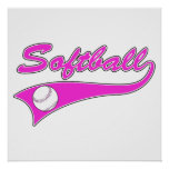 softball script text logo pink posters