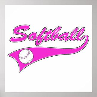 softball script text logo pink posters