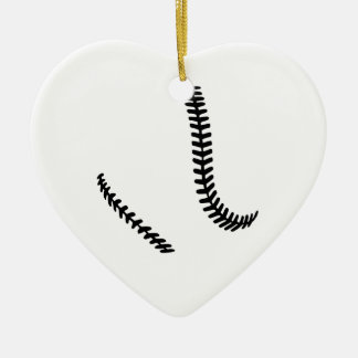Softball seams ceramic ornament