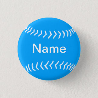 Softball Silhouette Button Blue