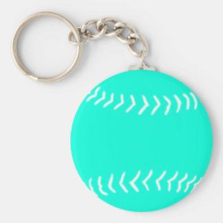 Softball Silhouette Keychain Turquoise