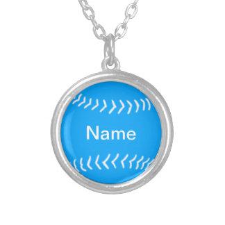 Softball Silhouette Necklace Blue