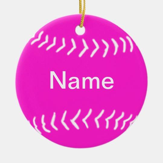 Softball Silhouette Ornament Pink