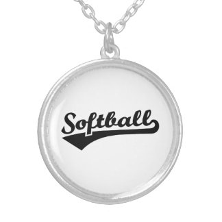 Softball Silver Plated Necklace