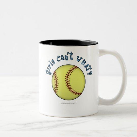 Softball-Sky Blue Two-Tone Coffee Mug