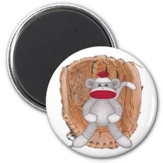 Softball Sock Monkey 2 Inch Round Magnet