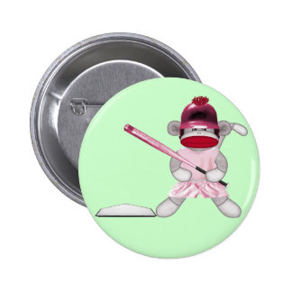Softball Sock Monkey Button