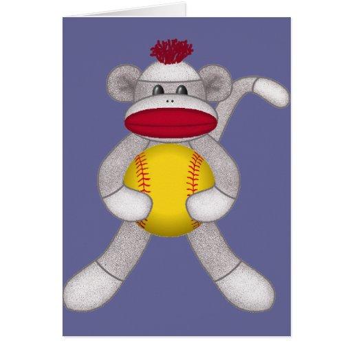 Softball Sock Monkey Card