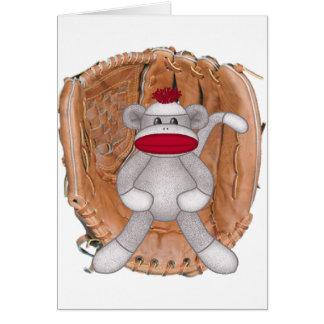 Softball Sock Monkey Greeting Card