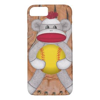 Softball Sock Monkey iPhone or Smart Phone Case