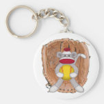 Softball Sock Monkey Keychain