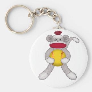 Softball Sock Monkey Keychains
