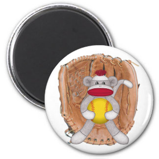 Softball Sock Monkey Magnet