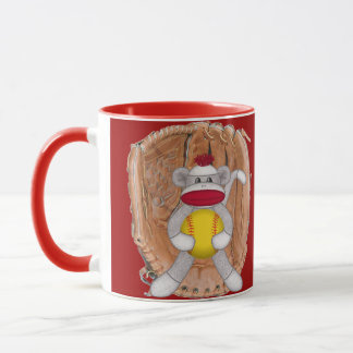 Softball Sock Monkey Mug