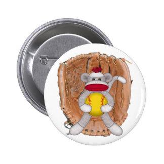 Softball Sock Monkey Pinback Button