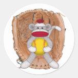 Softball Sock Monkey Round Stickers