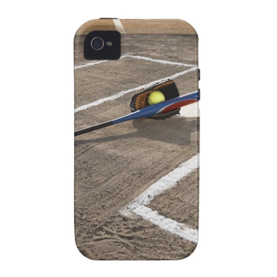 Softball, softball glove and bat at home plate iPhone 4 cover