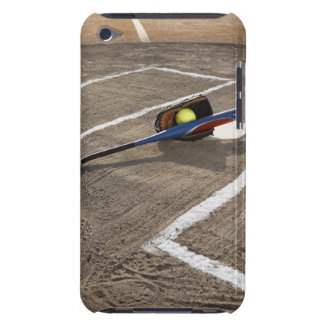 Softball, softball glove and bat at home plate iPod touch case