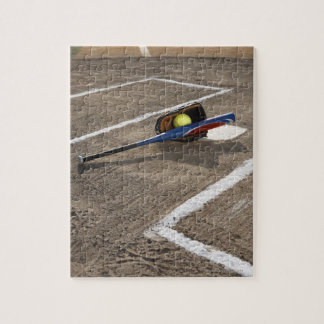 Softball, softball glove and bat at home plate jigsaw puzzle