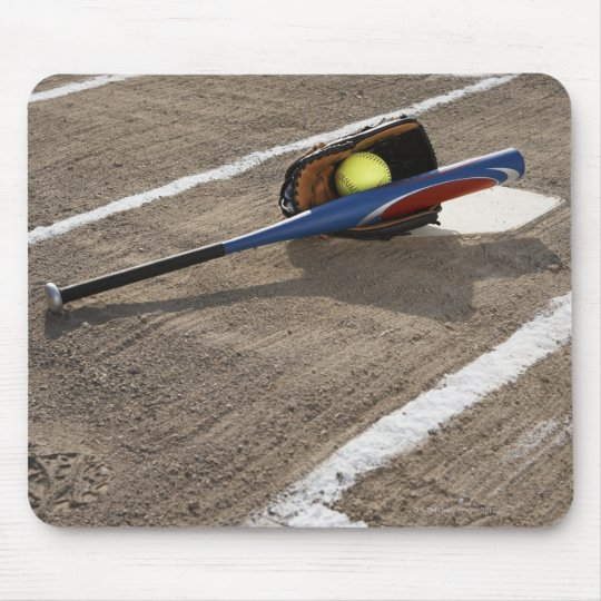 Softball, softball glove and bat at home plate mouse pad