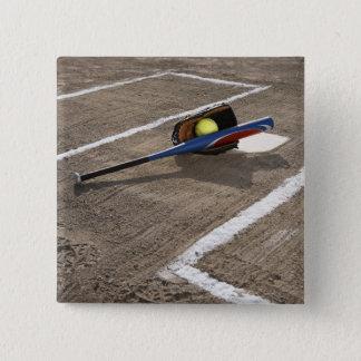 Softball, softball glove and bat at home plate pinback button