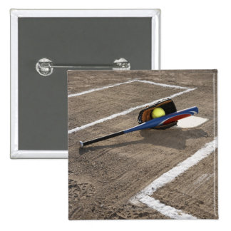 Softball, softball glove and bat at home plate pinback button