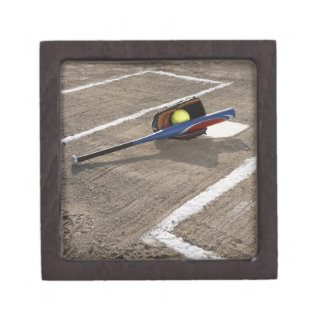 Softball, softball glove and bat at home plate premium trinket boxes