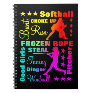 Softball Sports Terms Rainbow Cool Typography Notebook