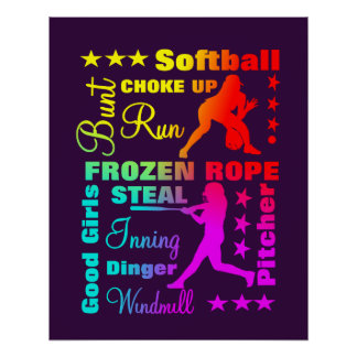 Softball Sports Terms Rainbow Cool Typography Poster