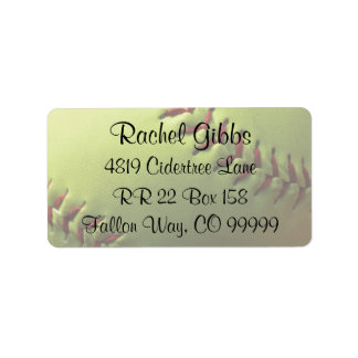 Softball Sports Wedding Theme Address Labels