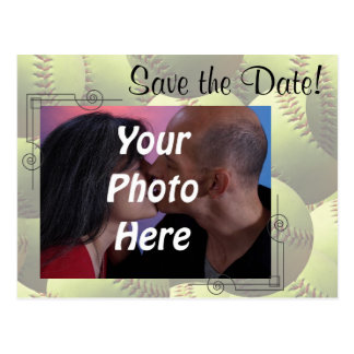 Softball Sports Wedding Theme Photo Save the Date! Postcard