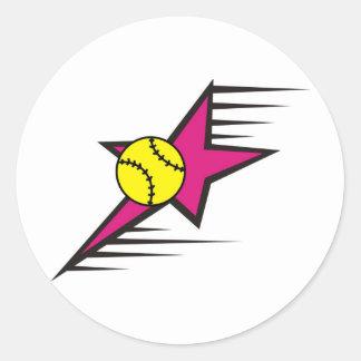 Softball Star Round Sticker