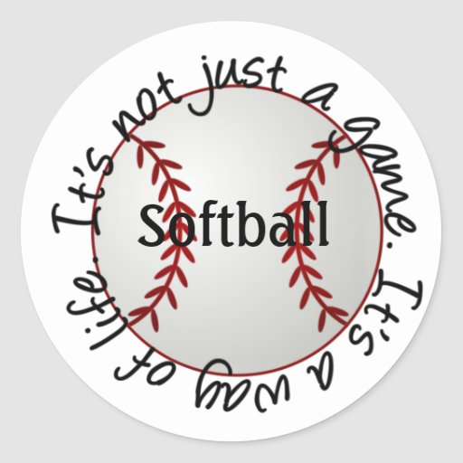 Softball-su no apenas un juego etiqueta redonda