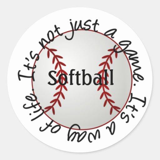 Softball-su no apenas un juego pegatina redonda