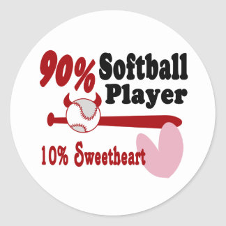 Softball Sweetheart Classic Round Sticker